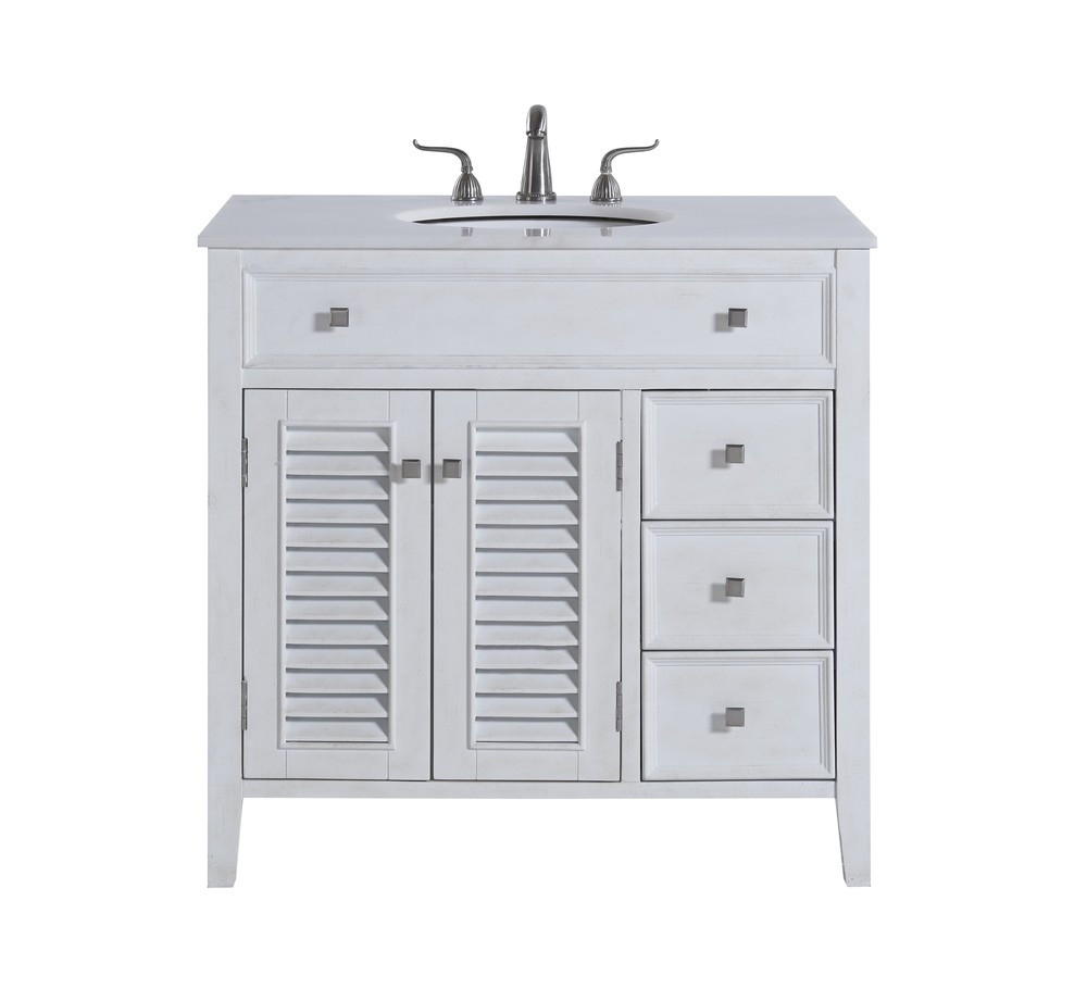 36 In Single Bathroom Vanity Set Antique White